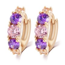 Fashion Gold Color Purple Crystal Stud Earrings Good Quality Elegant Design Type - $7.91