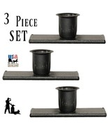 WINDOW SILL CANDLE HOLDER - Set of Three (3) Wrought Iron Primitive Meta... - $19.59