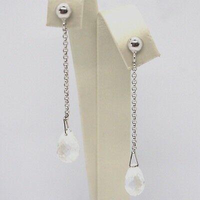Drop Earrings White Gold 18k, Chain Rolo ' , Tourmaline Drop