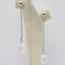 Drop Earrings White Gold 18k, Chain Rolo ' , Tourmaline Drop image 1