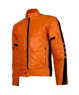 Men Handcrafted Orange Real Leather Jacket Biker Motorcycle Racer Cafe P... - $120.62+
