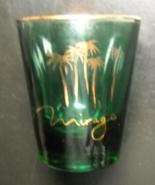 Mirage Shot Glass Las Vegas Resort Hotel and Casino Green Glass Gold Pri... - $6.99