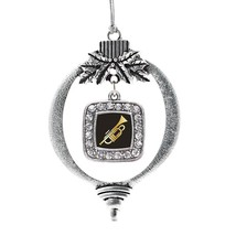 Inspired Silver Trumpet Classic Holiday Christmas Tree Ornament With Crystal Rhi - $14.69