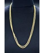 Crown Trifari Beige Faux Pearl Glass Mini Bead Beaded Long Gold Tone Nec... - $49.49