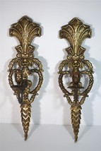 Pair Vintage Solid Brass Ornate Single Candle Wall Sconces - $89.10