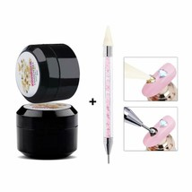 Nail Art 8Ml Rhinestone Uv Glue Gel Adhesive + Wax Tip Pickup Pen Tools ... - $14.02