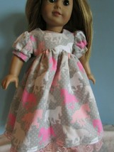 """homemade 18"""" american girl/madame alexander pink horse nightgown doll clothes - $21.78"""