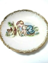 Vintage Small Made In Japan Plate Dish Gold Trimmed Boy Playing With Squ... - $8.32