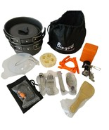16 pcs Bisgear Camping Cookware Stove Set  Carabiner Folding Tripod Stand - $34.33