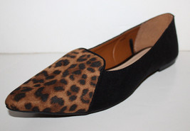 Gap NWT Womens Faux Suede Leopard Print Smoking Flats w/ Pointy Toe - $33.43