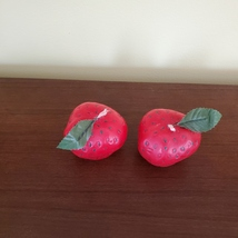 """STRAWBERRY SCENTED CANDLES Set of 2 Red Strawberries Shape Candle 2 1/4"""" H image 7"""