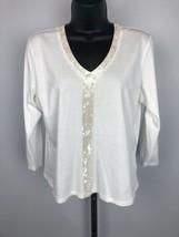 Women's Talbots White Sequined Shirt Top Size Medium - $9.49