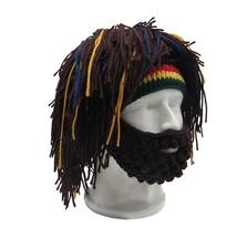Wig Beard Winter Hat Men Mask Rasta Beanie Caveman Handmade Crocheted Co... - $15.99
