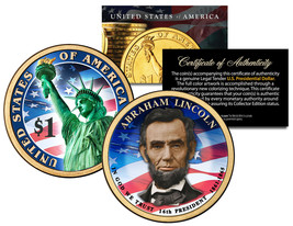 COLORIZED 2-sided 2010 ABRAHAM LINCOLN Presidential $1 Dollar US Preside... - $8.56