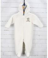 Carter's One Piece Snowsuit Teddy Bear Fleece Hoodie Baby Size 9M Ivory - $23.76
