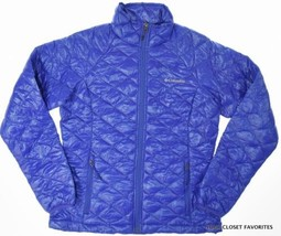 COLUMBIA Women's MEDIUM Thermal Coil Jacket Warm Lightweight Blue 'White... - $82.46