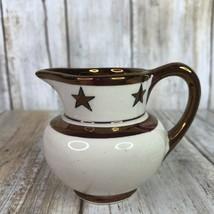 Vintage Old Castle England Miniature Creamer Pitcher Copper Beige Stars Ceramic - $34.99