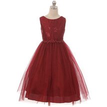 Burgundy Sequins Floral Embroidered Lace Mesh Bodice Tulle Skirt Girl Dress - $48.00