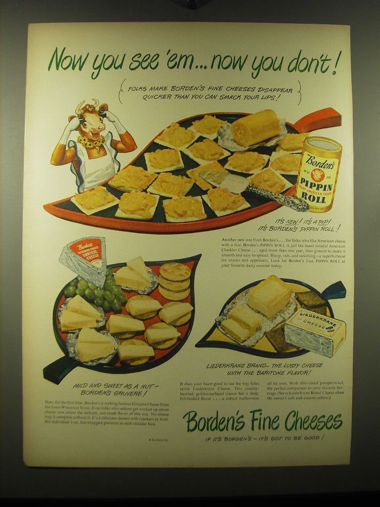 1948 Borden's Pippin Roll, Gruyere Cheese and Liederkranz Cheese Advertisement - $14.99