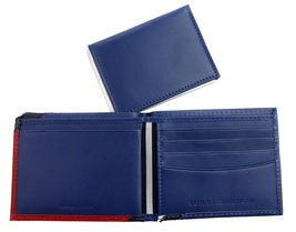 Tommy Hilfiger Men's Leather Wallet Passcase Billfold Red Navy 31TL22X051 image 9