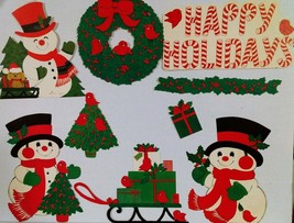 Vtg Hallmark Frosty Snowman Diecut Lot Red Bird Wreath Bow Sleigh Christ... - $40.49