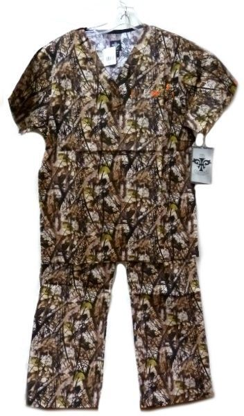 Med Couture XS Peaches Uniforms Unisex Natural Disguise Camo Scrub Set New