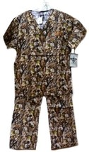 Med Couture XS Peaches Uniforms Unisex Natural Disguise Camo Scrub Set New - $31.01
