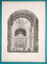 RUSSIA Saint Petersburg St. Isaac's Cathedral Interior - 1880s Wood Engr... - $16.20