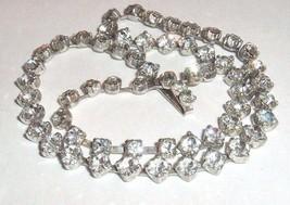 Vtg clear rhinestone necklace rhombus diamond shape setting wedding page... - $24.75
