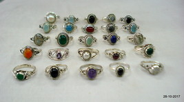Sterling silver rings lot gemstone rings 25pc handmade silver ring - $346.50
