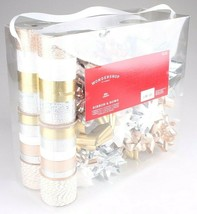 Wondershop Gold Silver White 264 Ft Ribbon 33 Bows Gift Wrapping Kit Set NEW image 2