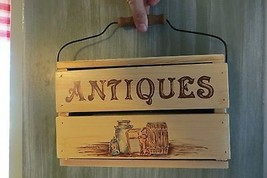 wooden crate Antiques wall hanging display sign... - $25.65