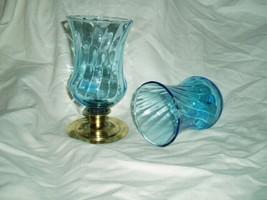 Home Interiors Aqua Traditional Sconce Votive Cups Blue Homco - $11.00