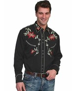 Men's Western Shirt Long Sleeve Rockabilly Country Cowboy Floral Embroid... - $87.38