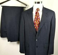 Lands End Suit Size 42 Long 36 x 31 Two Button Blue Plaid Pleated 100% W... - $98.95
