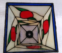 """Small 6"""" Stained Glass Lampshade White, Red, Green, & Blue image 4"""