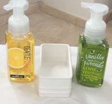 BBW Gentle Foaming Soap and White Holder. Select Lemon Coco Oil or Avoca... - $21.00