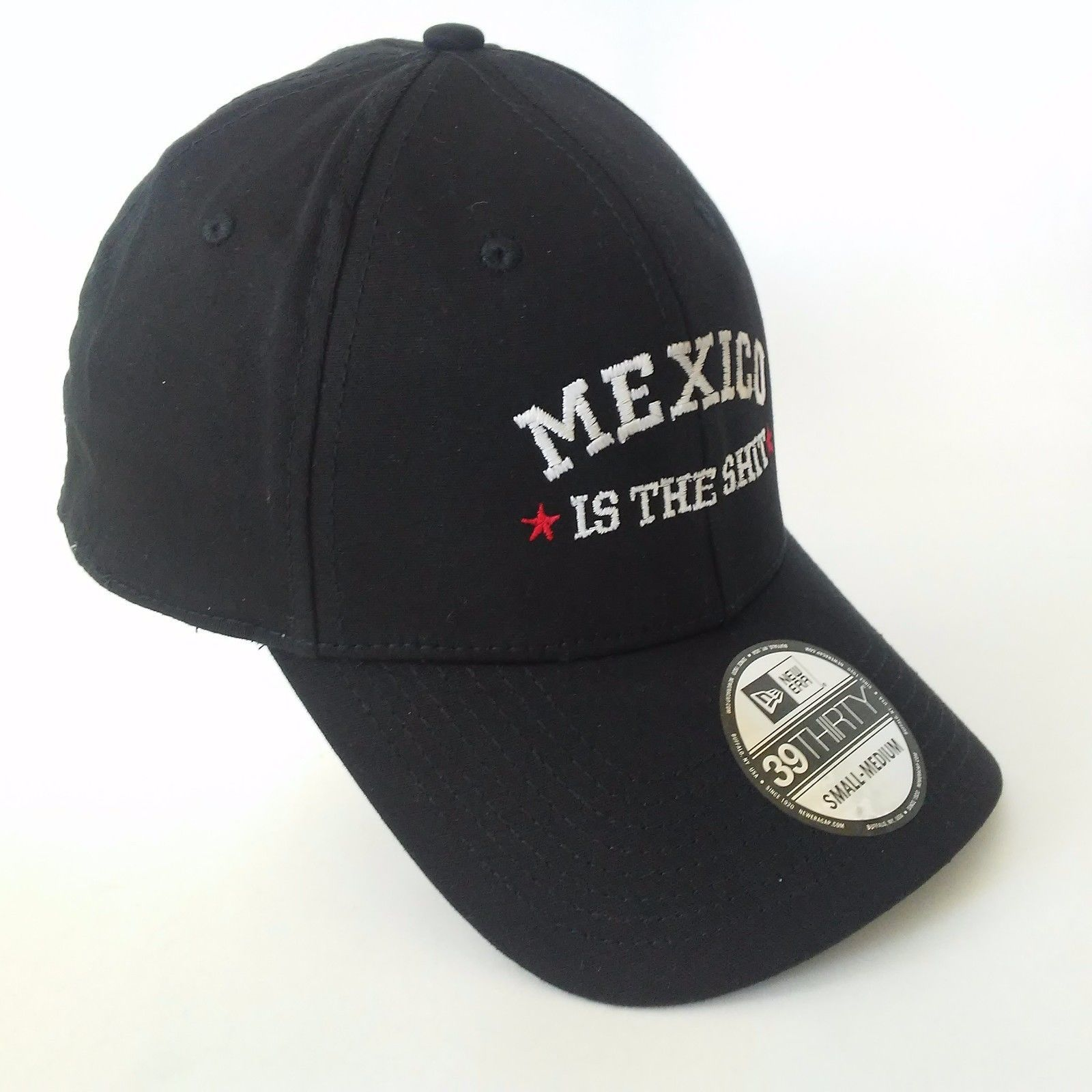 New Era 39THIRTY hat with MEXICO IS THE SHIT Embroidered hat black