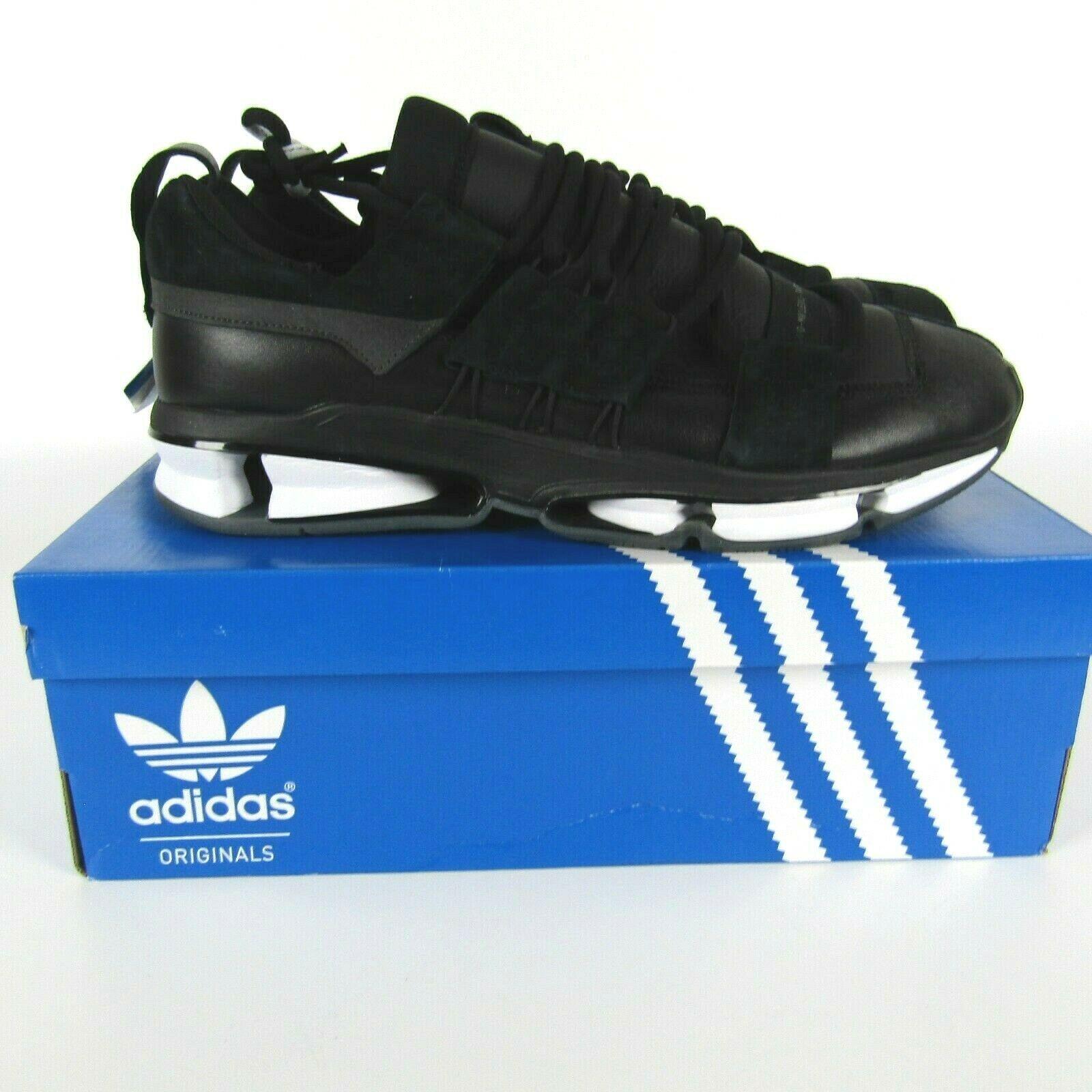 Adidas Twinstrike Adv Elástico Cuero Casual Zapatos Negros Blanco B28015 Size 13