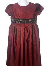 Hanna Andersson Taffeta Dress Dark Red Size 120 6-7 Burgundy - $23.27