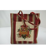 """Longaberger Holiday Gift Bag Lunch Tote Red Striped Christmas 9"""" x 8"""" - $10.25"""