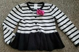 GYMBOREE Black and White Ruffled Cardigan Sweater Girls Size 3T - $3.66