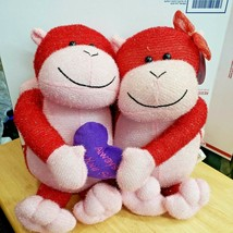 Sugar Loaf Red Monkey Couple Always By Your Side Stuffed Plush Pair Love in Air - $17.81