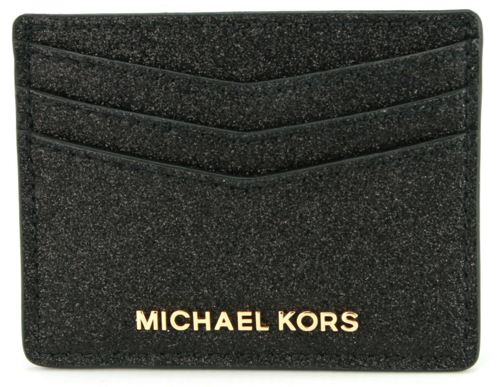 Primary image for Michael Kors Credit Card Holder Black Glitter with Gold Tone Hardware RRP £55