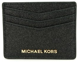 Michael Kors Credit Card Holder Black Glitter with Gold Tone Hardware RR... - $60.24