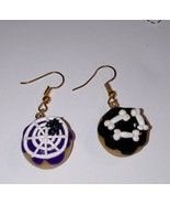 Sweet Halloween Decorated Donut Earrings Gold Tone Wire Clay Donuts Holi... - $6.00
