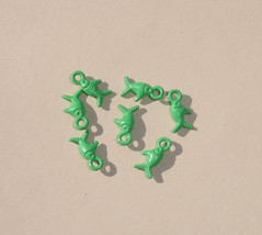 Tiny Tibetan Green Fish Charms Pendants - Jewelry Making Supplies - 6 pcs - $1.25