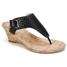 White Mountain Shoes All Good Women's Sandal, Black Woven Embossed Met Pu, 9H M - $38.80