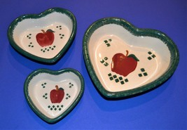 Set of 3 Stoneware Heart Shaped Nesting Serving Bowls Country Decor Red ... - £10.38 GBP