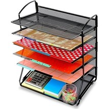 6 Trays Desktop Document Letter Tray Organizer Black Desk Supplies Paper... - $32.72